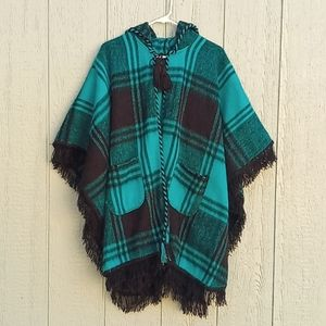 Teal poncho one size